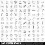 100 icônes d'hiver réglées, style d'ensemble Photos libres de droits