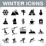 Icônes d'hiver réglées - VECTEUR Photographie stock