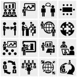 Icônes d'homme d'affaires réglées sur le gris. Illustration de Vecteur