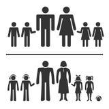 Icônes d'homme, de femme, de garçon et de fille Photos libres de droits