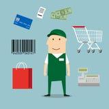 Icônes d'homme de vendeur et d'industrie du commerce au détail Photographie stock
