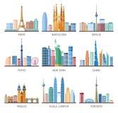 Icônes d'horizons de villes réglées illustration stock