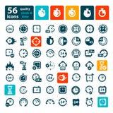 Icônes d'horloge de couleur réglées Photos stock