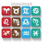 Icônes d'horoscope Signes de zodiaque Symbole des éléments Photographie stock libre de droits