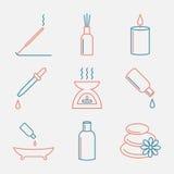 Icônes d'huiles d'Aromatherapy réglées Ligne style mince d'huile essentielle Conception plate moderne Images stock
