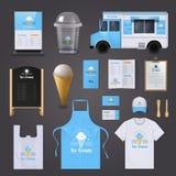 Icônes d'identité d'entreprise de crème glacée réglées illustration de vecteur