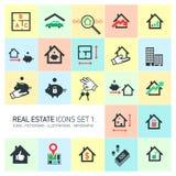 Icônes d'immobiliers de vecteur réglées Photo libre de droits