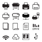 Icônes d'imprimante Image stock