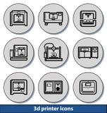 Icônes d'imprimante 3d légères Image libre de droits
