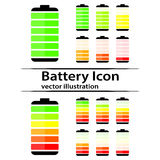 Icônes d'indicateur de niveau de charge de batterie Photographie stock libre de droits