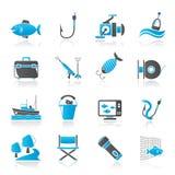 Icônes d'industrie de la pêche Photos stock