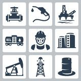 Icônes d'industrie pétrolière de vecteur réglées Image stock