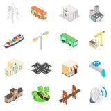 Icônes d'infrastructure réglées illustration stock
