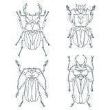 Icônes d'insecte, ensemble de vecteur Style triangulaire abstrait Images libres de droits