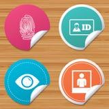 Icônes d'insigne de carte d'identification d'identité Symbole d'oeil illustration stock