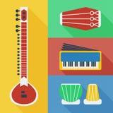 Icônes d'instruments de musique du Pakistan Photo stock