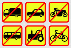 Icônes d'interdiction de véhicule Image stock