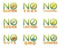 Icônes d'intolérance de nourriture Images libres de droits