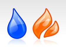 Icônes de l'eau et du feu Image stock