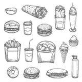 Icônes d'isolement par croquis d'aliments de préparation rapide de vecteur Illustration Stock