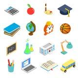 Icônes 3d isométriques d'éducation réglées Image libre de droits