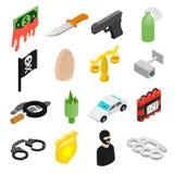 Icônes 3d isométriques de crime Photographie stock libre de droits