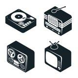 Icônes 3D isométriques de rétros dispositifs de media Image stock