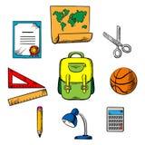 Icônes d'objets d'école et d'éducation Photos stock