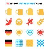 Icônes d'Oktoberfest réglées Photos stock