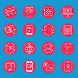 Icônes d'opérations bancaires d'Internet illustration de vecteur