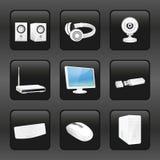 Icônes d'ordinateur et d'accessoires Photos stock