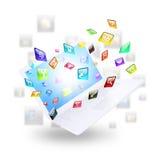 Icônes d'ordinateur portable et d'application Image libre de droits