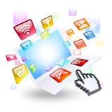 Icônes d'ordinateur portable et d'application Photos stock