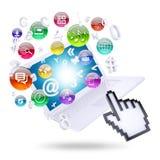 Icônes d'ordinateur portable et d'application Photos libres de droits