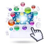 Icônes d'ordinateur portable et d'application Images stock