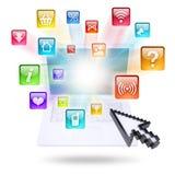 Icônes d'ordinateur portable et d'application Photographie stock libre de droits