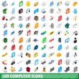 100 icônes d'ordinateur réglées, style 3d isométrique Photos libres de droits