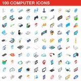 100 icônes d'ordinateur réglées, style 3d isométrique Photographie stock libre de droits