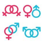Icônes d'orientation sexuelle dans le style plat à la mode Images libres de droits