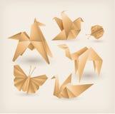Icônes d'origami de vintage réglées Images stock