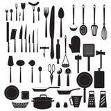 Icônes d'outil de cuisine réglées Silhouettes de vecteur Photo stock