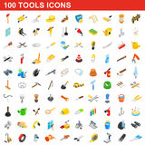 100 icônes d'outils réglées, style 3d isométrique Photographie stock libre de droits