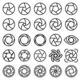 Icônes d'ouverture de lentille Icônes linéaires noires d'isolement sur un fond blanc Illustration de Vecteur