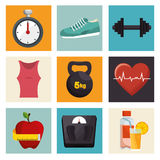 Icônes d'équipement de sport de forme physique de collection Photographie stock libre de droits