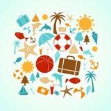 Icônes d'été Photographie stock