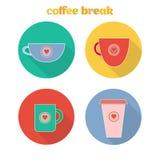 Icônes d'un Web avec des tasses Image stock