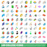 100 icônes d'université réglées, style 3d isométrique Photographie stock libre de droits