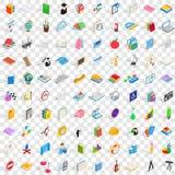 100 icônes d'université réglées, style 3d isométrique Image libre de droits