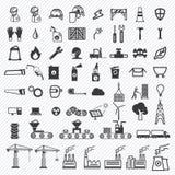 Icônes d'usine de bâtiment industriel et de centrales réglées illustration stock