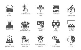 15 icônes dans le style plat de la technologie numérique augmentée de l'AR de réalité Concept futuriste de technologie Labels de  illustration libre de droits